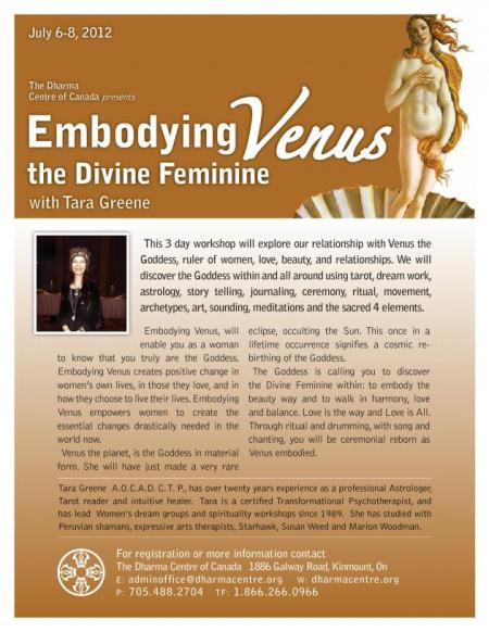 Womens Venus spirituality workshop Tara Greene