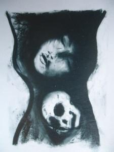 Napoleon Brousseau skull charcoal Tara Greene art