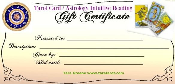 GIFT CERTIFICATE for Tarot Astrology Psychic readings by Tara Greene