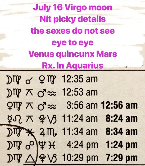 July 16 Astrology aspects Tara Greene