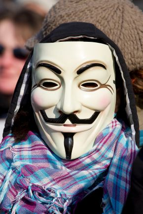 Guy Fawkes Anonymous Mask protester Pierre-Selim, CC BY-SA 3.0 , via Wikimedia Commons